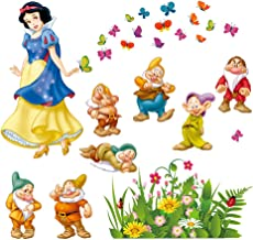 decalmile Snow White and The Seven Dwarfs Wall Decals Princess Wall Stickers Peel and Stick Removable Vinyl Wall Art for Kids Bedroom Nursery Girls Room