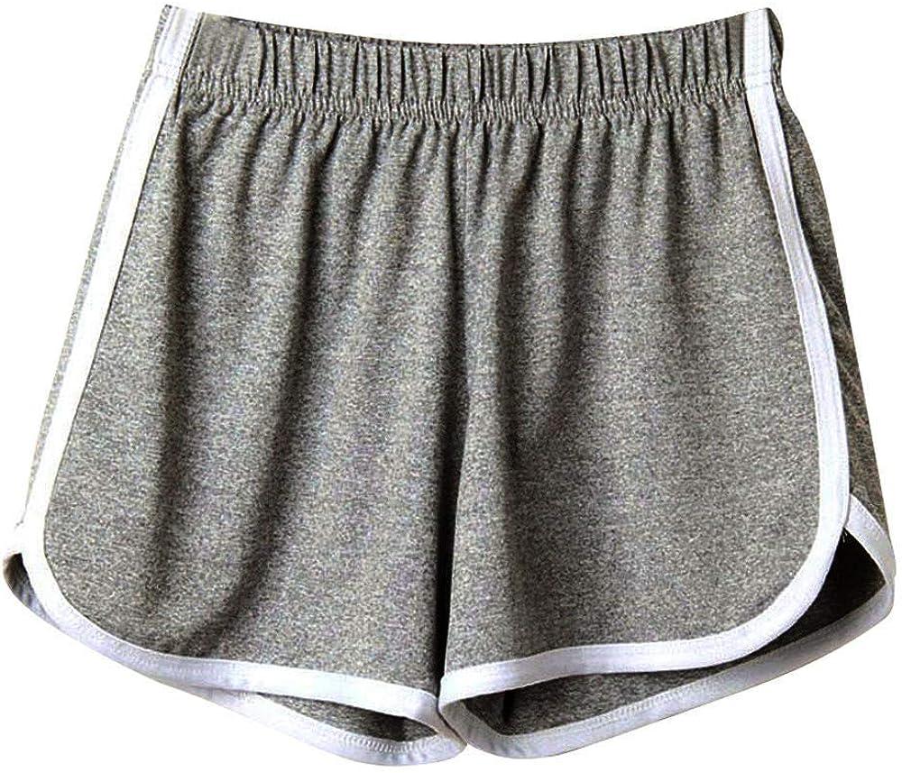 COMVALUE Womens Shorts for Summer,Women Summer Causal Loose Fit Beach Shorts for Running Sports Elastic Waist Shorts
