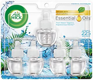 Air Wick plug in Scented Oil 5 Refills, Fresh Waters, (5×0.67oz), Essential Oils, Air Freshener