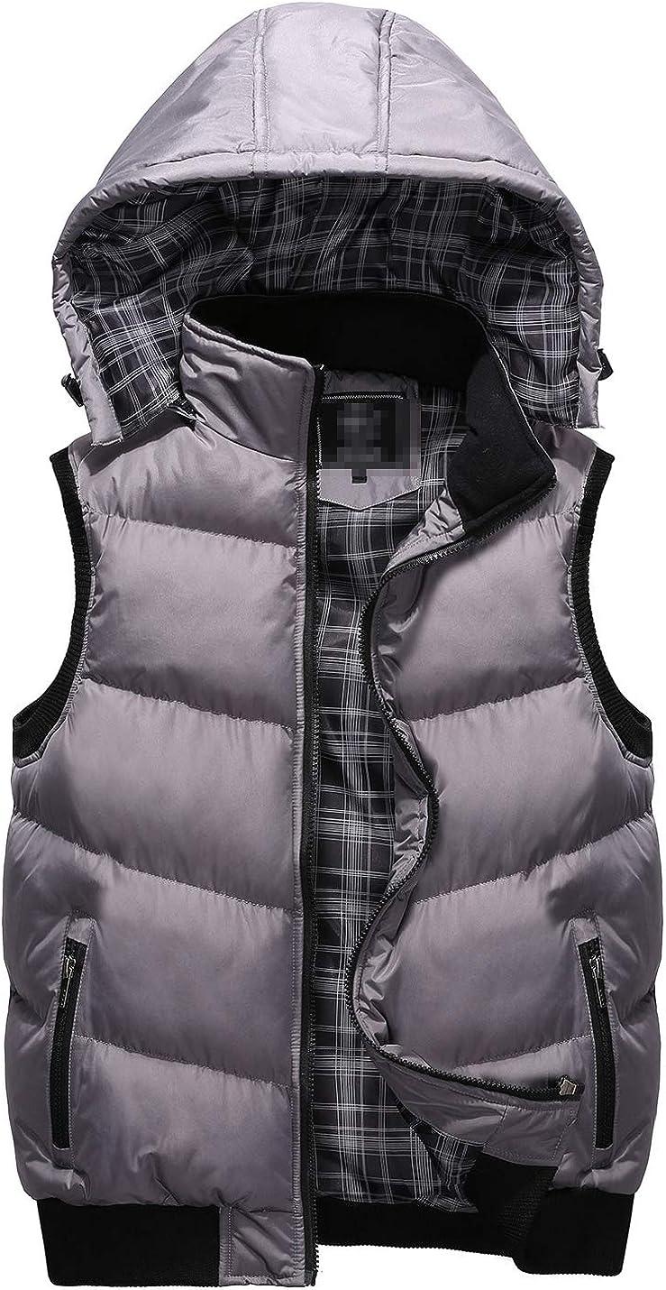 D.B.M Men's Windproof Warm Sleeveless Zipper Detachable Hooded Contrast Vest