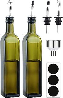 [2 PACK]Aozita 8 oz Glass Olive Oil Dispenser Bottle Set - 250ml Dark Green Oil & Vinegar Cruet Bottle with Pourers, Funne...