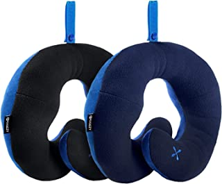 BCOZZY Chin Supporting Patented Travel Pillow - Prevents the head from falling forward in ANY sitting position, providing comfort and support for the neck and head. Adult size, Set of 2 (Black + Navy)