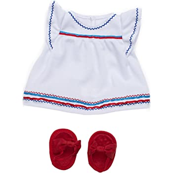 """Manhattan Toy Baby Stella Liberty Dress & Sandals Baby Doll Clothes for 15"""" Dolls"""