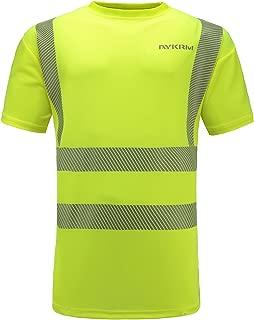 AYKRM Hi Vis T Shirt ANSI Class 3 Reflective Safety Lime Short Sleeve HIGH Visibility