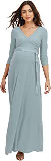 HELLO MIZ Women's Faux Wrap Maxi Maternity Dress with Belt - Made in USA (¾ Chambray, M)