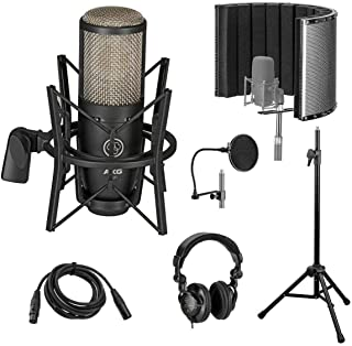 AKG Acoustics Project Studio P220 Large Diaphragm Condenser Microphone with Vocal Recording Setup Kit