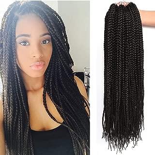 22 Inch Long Medium Box Braids Crochet Hair 7 Pakcs/lot Synthetic Hair Extension Box Braid Hair Crochet (22 Inch, 1B)