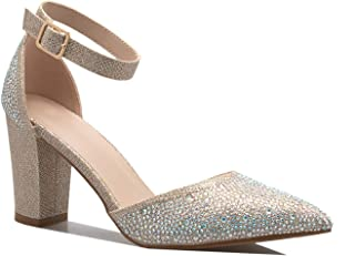 Women's Crystal Rhinestone Ankle Strap D'Orsay High Heel Pump Sandal Dress Shoes