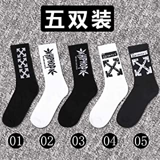 ZHANGNUO, 5 Pares Street Fashion Hip Hop Unisex Sports Street Fashion Skateboard Cool Calcetines De Algodón Estilo Harajuku Retro Male Weed Socks 5XL / Lightgrey
