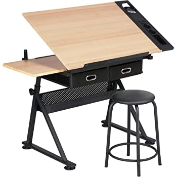 YAHEETECH Height Adjustable Drafting Draft Desk Drawing Table Desk Tabletop Tilted Art Craft Work Station w/ 2 Storage Drawer and Stool