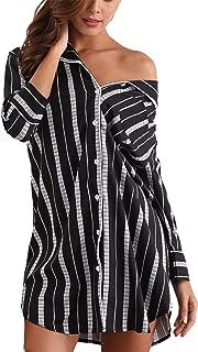d0e1308d75708 Giorzio Femme Chemise de Nuit à Rayures Manches 3 4 Vêtement de Nuit avec  Bouton