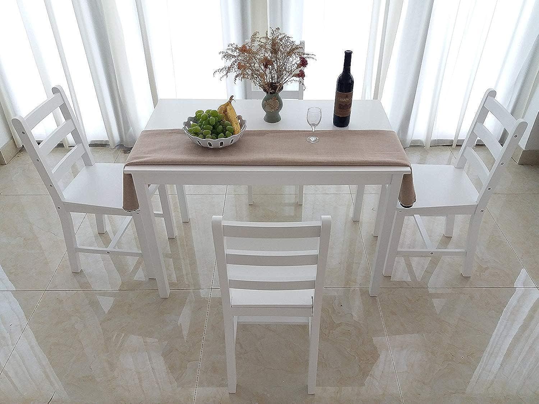 Dakea Essgruppe Tischgruppe Esstisch mit 4 Stühlen Set Wei 108 x 65cm Holz