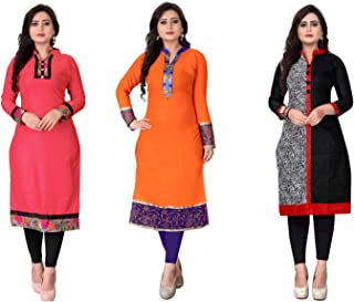 Kesari King Women's Crepe A-Line Kurti Material(Pack of 5) (1023,24,25,40,53_Multicolored_Free Size)