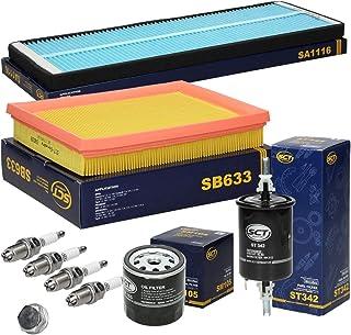 Inspektionspaket Wartungspaket Filterset 1 x Ölfilter 1 x Ölablassschraube mit Dichtung 1 x Luftfilter 1 x Innenraumfilter 1 x Kraftstofffilter 4 x Zündkerzen