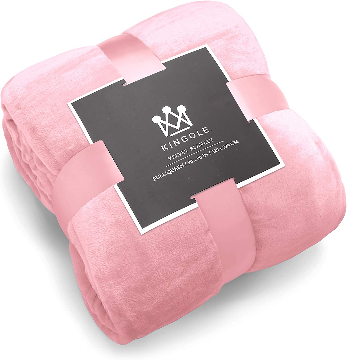 Kingole Flannel Fleece Microfiber Throw Blanket, Luxury Cherry Blossom Pink Queen Size Lightweight Cozy Couch Bed Super Soft and Warm Plush Solid Color 350GSM (90 x 90 inches)