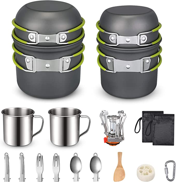 G4Free Camping Cookware Mess Kit 19 Pieces