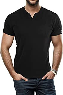 Sponsored Ad - X RAY Men's Soft Stretch Cotton Short Sleeve Solid Color Slim Fit Slit V-Neck T-Shirt, Fashion Casual Tee for Men