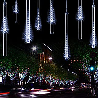 11.8 inch 10 Tubes 240 LED Meteor Shower Raindrop Lights Cascading Lights LED Icicle Lights Falling Raindrop Christmas Lights for Holiday Party Wedding Christmas Tree Decoration (White)