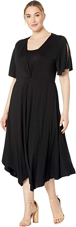Plus Size Asymmetric Twist Front Dress