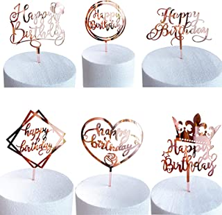6 Pack Happy Birthday Cake Topper - Double-Sided Glitter Acrylic Cake Topper - Birthday Cake Supplies Decorations for Chil...
