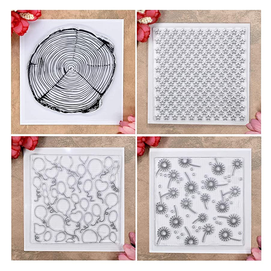 Kwan Crafts 4 Sheets Different Style Wood Grain Star Balloons Background Clear Stamps for Card Making Decoration and DIY Scrapbooking