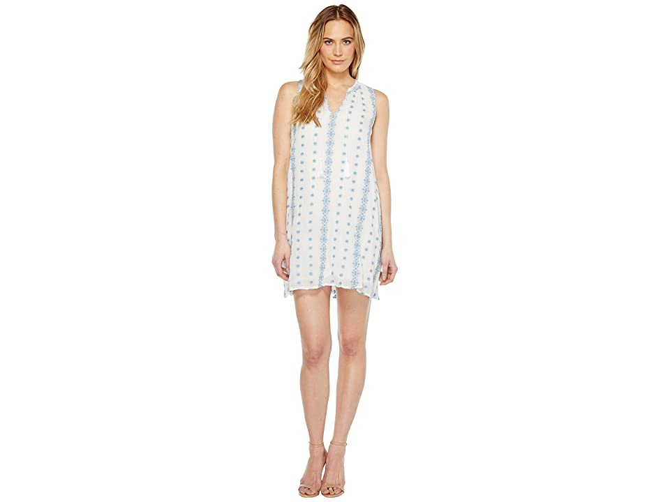 Dylan by True Grit Prarie Embroidered Trapeze Dress w/ Lining (Vintage White/Denim) Women