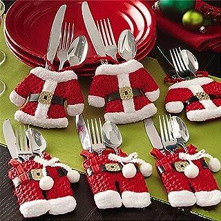 Mbuynow 6 Piezas Cubiertos Navidad Santa Claus Bolsillos para Cubiertos Decoración Navidad Papa Noel Adornos Navideños
