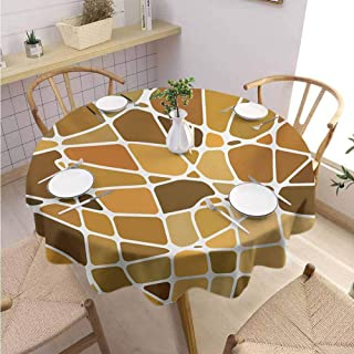DILITECK Tan and Brown Covering Round Tablecloth Stained Glass Style Mosaic with Colorful and Abstract Pieces Fractal Pattern Party Diameter 63