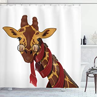 Ambesonne Cartoon Decor Collection, Giraffe Wearing Glasses in a Red Scarf Educated Smart Looking Fun Image, Polyester Fabric Bathroom Shower Curtain Set with Hooks, Peru Sienna Red