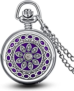 Infinite U Flower Pendant with Mirror Small Women Quartz Pocket Watch Silver Long Necklace with Gift Bag …