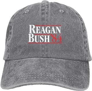 Reagan Bush 84 Plain Adjustable Cowboy Cap Denim Hat for Women and Men