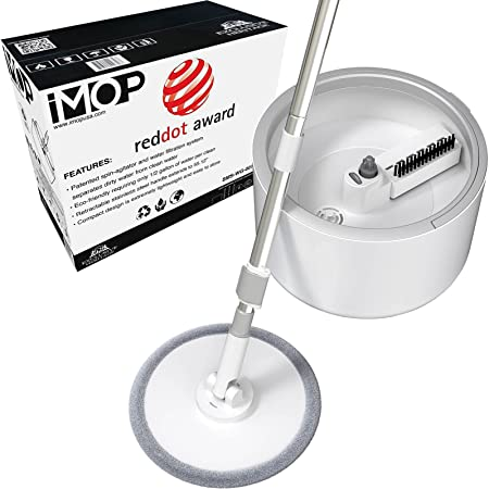 VENETIO iMOP Spin Mop and Bucket Floor Cleaning System with Water Filtration Spinner - Dry Wet Self Wringing Washable & Reusable Microfiber Mop for Wood, Hardwood, Laminate, Tile, Pet Owners (1 Pad)