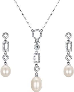 EleQueen Women's 925 Sterling Silver Freshwater Cultured Pearls Long Dangle Drop Necklace Earrings Sets