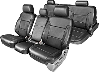 Clazzio 212012blkk Black Leather Front and Rear Row Seat Cover for Toyota Tacoma Double Cab