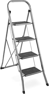 VonHaus Steel 4 Step Ladder Folding Portable Stool with 330lbs Capacity and Anti-Slip..