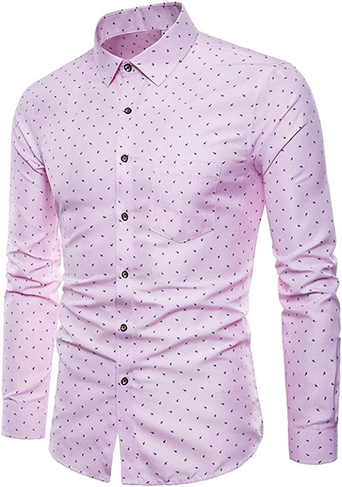DIOMOR Men's Classic Business Long Sleeve Button Down Shirts Retro Polka Dots Lapel Blouses Tops Office T Shirts