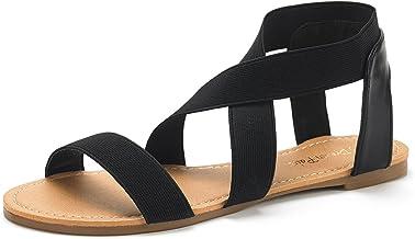 DREAM PAIRS Women's Elatica Elastic Ankle Strap Flat Sandals