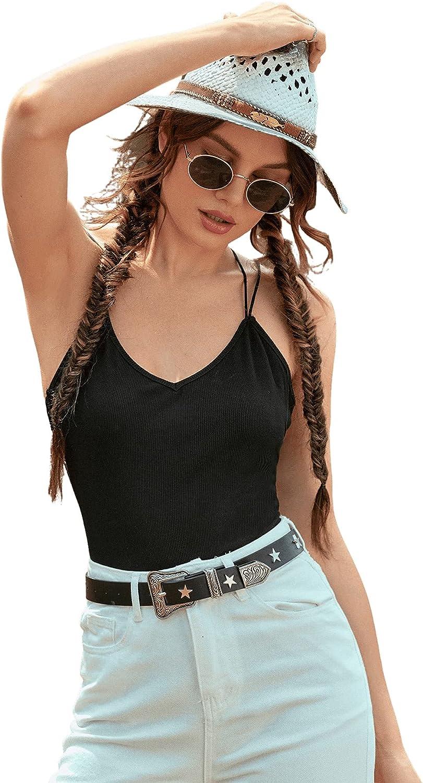 Verdusa Women's Strappy Backless Contrast Lace Bodycon One Piece Cami Bodysuit Black XS
