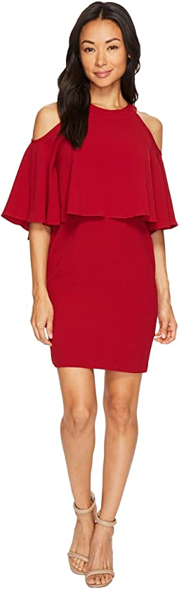 Adrianna Papell - Petite Textrd Crepe Cold Shoulder Sheath Dress