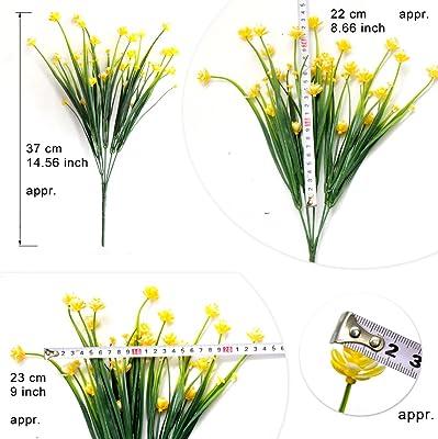 ICEYUN 5pcs Plastic Artificial Flowers, Yellow Daffodils