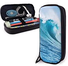 Trousse Ocean Waves Blue Sea Pencil Case Big Capacity Pen Storage Bag Pouch Holder Box Leather Stationery Organizer With Z...