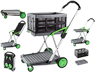 Two Tier Clax Trolley, Multifunctional Portable Folding and Collapsible Mobile Cart Ideal for Laboratory, Warehouse, House...