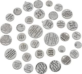 YYaaloa Pack of 34 Inspirational Message Sayings Charms DIY Charms Pendant for Crafting, Jewelry Making Accessory (Inspiration Charms 34pcs Silver)