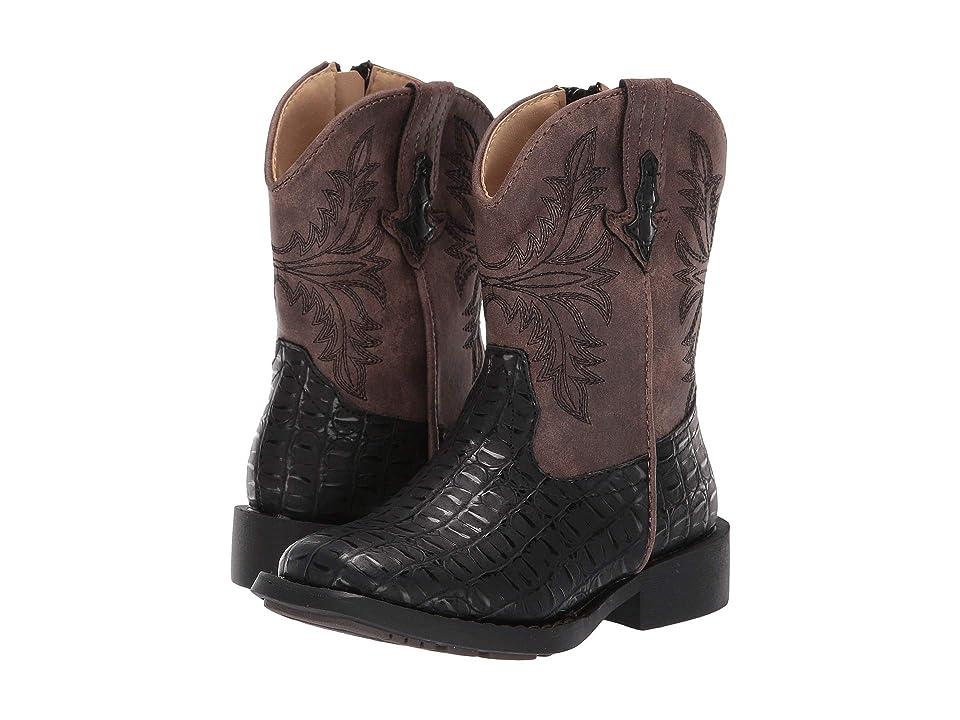 Roper Kids Chomp (Toddler) (Black Faux Caiman Vamp/Vintage Shaft) Cowboy Boots
