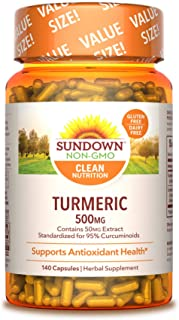 Turmeric Herbal Supplements by Sundown, for Antioxidant Health, Non-GMOˆ, Free of Gluten, Dairy, Artificial Flavors, 500mg...