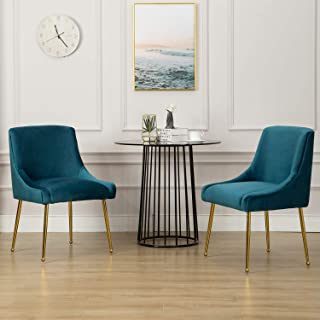Modern Dining Chairs Set, Velvet Upholstered Living Room Chairs with Brass Metal Legs, Luxury Mid Century Guest Room Chair, 2PS - Teal Blue