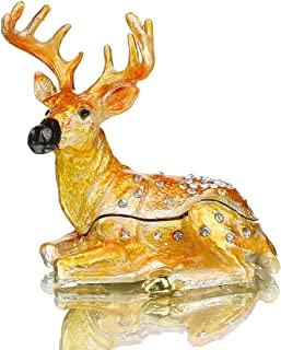 YU FENG Deer Figurine Jewelry Trinket Boxes Hinged Animal Figurine Collectibles Alloy Ring Holder Table Centerpiece
