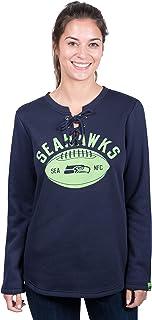 Icer Brands NFL Seattle Seahawks Women's Fleece Sweatshirt Lace Long Sleeve Shirt, Large, Navy