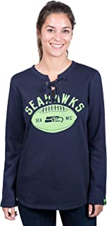 Icer Brands NFL Seattle Seahawks Women's Fleece Sweatshirt Lace Long Sleeve Shirt, Large, Navy