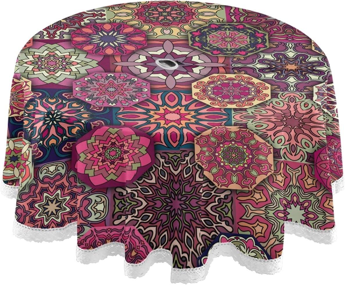 xigua Mantel redondo impermeable bohemio para exteriores de 60 pulgadas con agujero para paraguas y cremallera antideslizante para barbacoas/picnic decoración de mesa